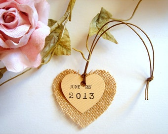 Free Shipping 50 Burlap Heart Tags,Wedding  Tags, Personalized Burlap Wine Tag,