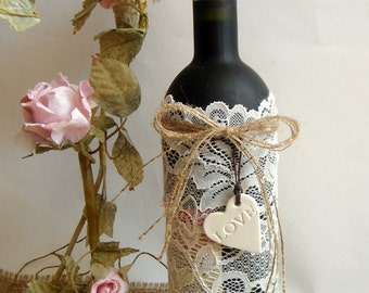 Wine Bags with clay hearts,12 Lace Wine Covers, Wine covers wedding favors
