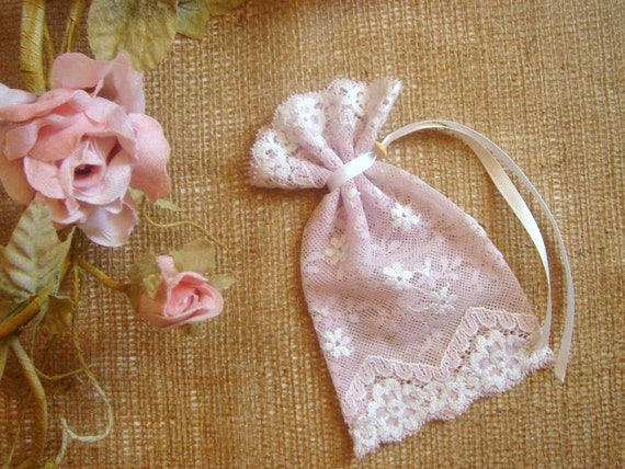 Baptism Favor Bags,Powder Rose Favor Bags,Baby Shower Favor, Baby Christening Bags, Vintage Pink Lace Favor Bags,Vintage Favor Bag