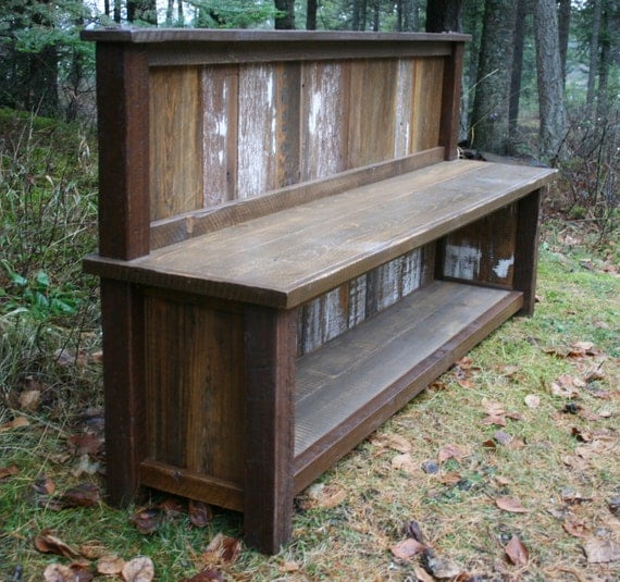 Reclaimed Rustic Backed Entry Bench By Echopeakdesign On Etsy