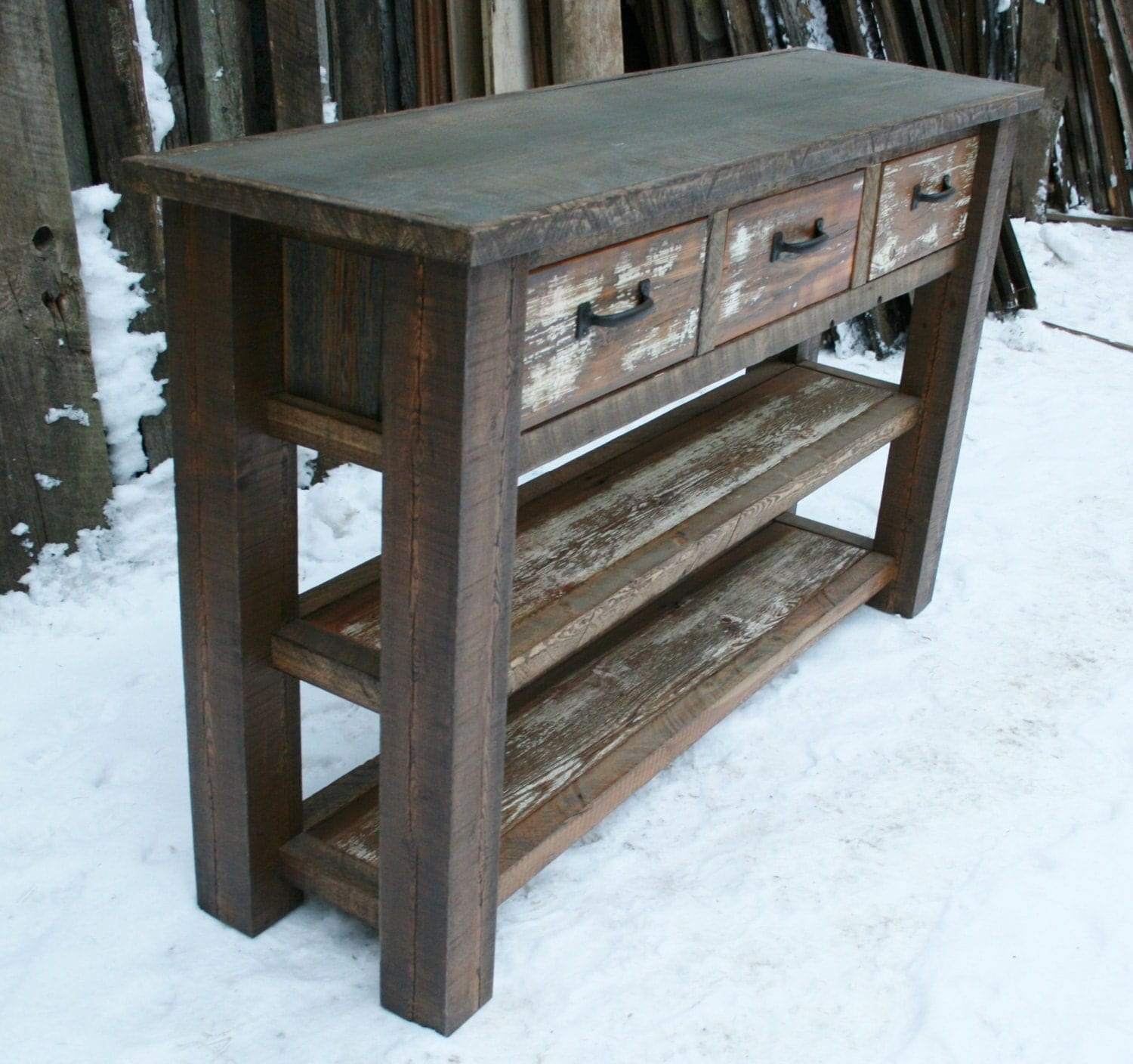 Rustic Wooden Foyer Bench : Reclaimed rustic console entry table by echopeakdesign on etsy