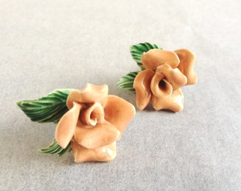 Vintage Romantic Ceramic Flower Earrings, SPRING IS HERE