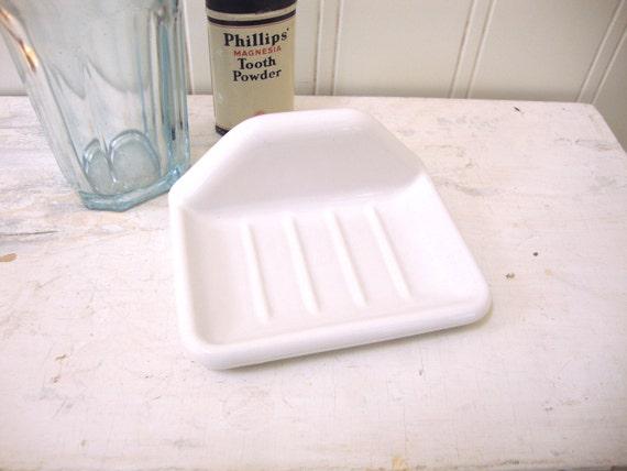 Vintage Soap Dish White Glossy Porcelain Ceramic