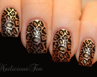 Transparent Leopard Skin Print Nail Art Water Transfer Decal 12pcs