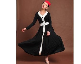Winter dress,cotton maxi dress,knit dress,super  long dress,wool dress