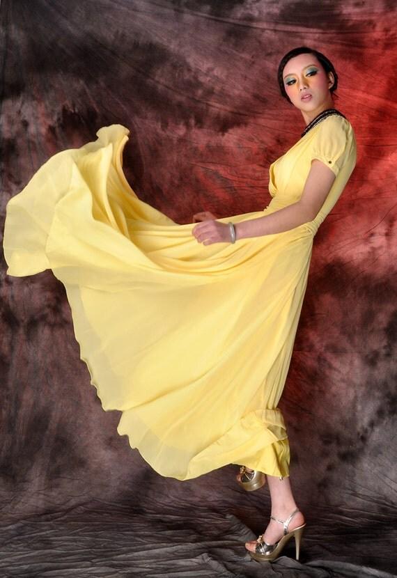 yellow chiffon maxi dress,long dress,beach dress,wedding dress,circle dress