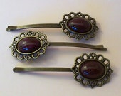 Dark Purple Marbled Bobby Pins (set of 3), Vintage Style Bobby Pins, Hair Accessories