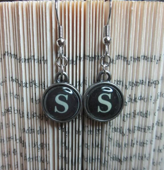 Vintage Style Typewriter Key Mini Initial Charm Earrings - Letter S