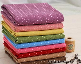 Tiny Dot Fabric, Japanese Polka Dot Fabric , White Polka Dots Linen Cotton Fabric, Vintage Purple Yellow Pink Blue Brown- 1/2 yard