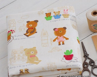 Cotton Linen Fabric Clothes - White Linen With Cute Bunny Little Bear Calf Elephant Kids Fabric 1/2 Yard
