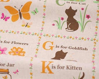 "Kids Cartoon Fabric- Panel Cotton Linen Fabric 26 Letters Alphabet Linen Cotton Fabric One Panel 23"" x 55"""