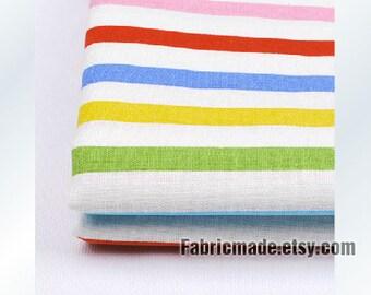 Colorful Stripe Fabric/ Rainbow Bright Stripe Cotton Linen Fabric -  1/2 yard