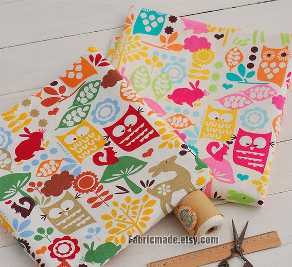 Colorful cute owl cotton linen fabric kids fabric curtain for Cute childrens fabric