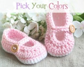 Crocheted Baby Booties - Baby Girl Soft Sole Shoes - Crochet Mary Janes - Handmade Fashion Baby Shower Gift - Custom Colors - MADE TO ORDER
