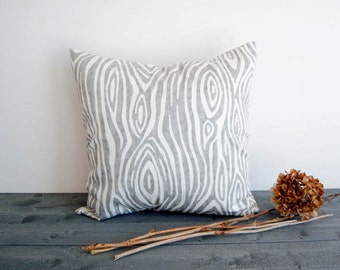 Gray throw pillow cover One Gray and White pillow cover gray cushion cover modern pillow