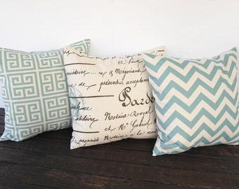 Throw pillows, Cushion Covers, Pillow Shams Greek Key Chevron Script - light smokey village blue and natural