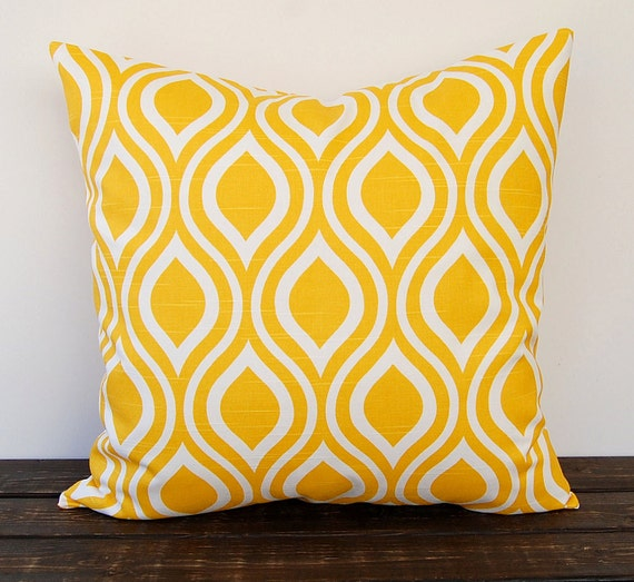 Big Yellow Decorative Pillows : Yellow pillow cover One Nicole Corn Yellow cushion cover