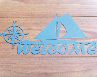 Nautical Sailboat Welcome Sign