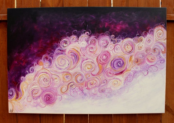 """Night and Day: Purple, Gold, and White Abstract Swirly Textured Acrylic Painting 24"""" by 36"""""""