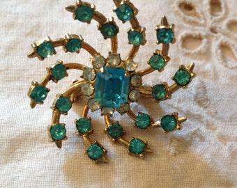 Vintage Turquoise Rhinestone Pin