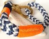 Blue & White Nautical Rope Bracelet with Orange wrap and Orange and Navy Stripe - Bronze Clasp