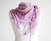 Floral scarf, Cotton Scarf with fringes, Turkish Scarf, Oya scarf, Yemeni, Neckwarmer, Women Fashion Scarf,