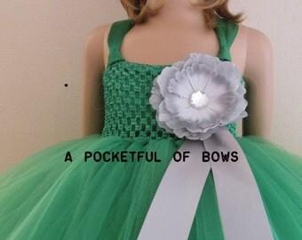 Green Tutu Dress, Long Kelly Tulle Dress, Kelly Green Flower Girl Dress