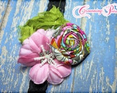 Lime Green, Light Pink Flower Hair Accessories, Baby Headband, Tropical Hair Bow, Baby Hair Bows, Fabric Flowers, Clip, Flower Brooch Pin
