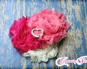 Valentine's Headband, Pink Shabby Chiffon Headband, Hair Bow, Baby Girls Bows, Ivory, Pink, Fuchsia Hair Accessories, Magenta Headband