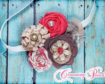 Coral, Brown, Ivory Hair Accessory, Tan Fabric Flower Headband, Beige Hair Bow, Hair Piece, Flower Brooch, Coral Hair Clip, Ivory, Champagne