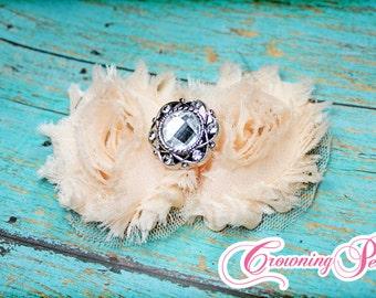 Light Peach Shabby Chiffon Hair Bow, Light Coral, Double Shabby Chiffon Headband, Baby Hair Bows, Hair Accessories, Fabric Flower Hair Clip