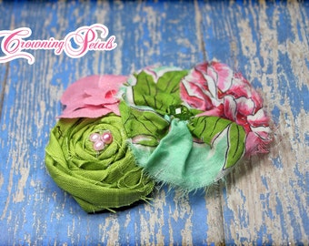 Tropical Headband, Coral Pink, Turquoise, Mint, Lime Headband, Baby Girl Hair Bow, Fabric Flowers, Fabric Flower Hair Accessory
