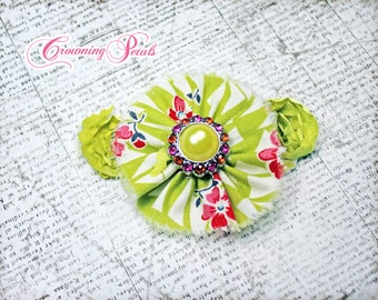 Lime Green, Fuchsia Pink Flower Hair Clip, Tropical Fabric Flower Hair Accessories, Chartreuse, Baby Girl Hair Bow, Neon Green Headband