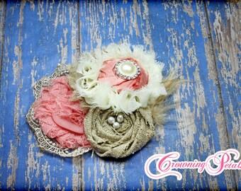 Coral, Burlap Headband, Tan, Ivory Hair Accessories, Baby Girl Hair Bow, Fabric Flower Headband, Coral Hair Piece, Fabric Flower Brooch