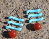 Turquoise Ladder and Red-Orange Dangle with Gold Chain