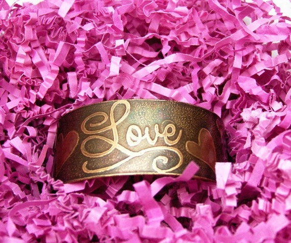 Loving Hearts - Etched Wrist Cuff