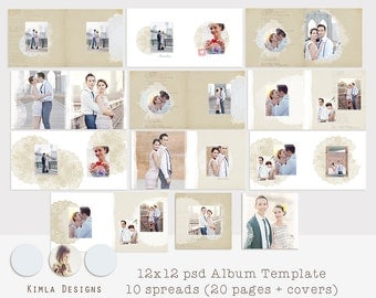 12 x12 Album Template for Photographers, psd file
