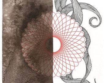 """Octopus Painting - Unknown and Unknowable Octopus  - Fine Art Giclee Print of 4""""x6"""" Black White and Red Spirograph"""