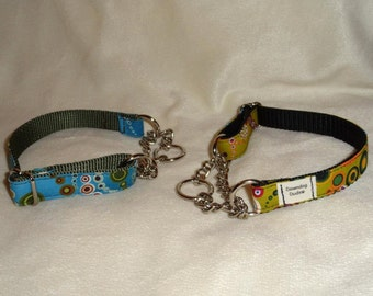 Custom chain martingale collar.  3/4 or 1 inch.  YOU pick fabric and nylon color