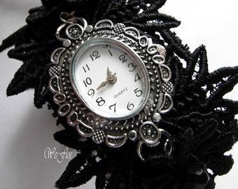Lace bracelet with watch Romantic bracelet watch lace white victorian Renaissance Gothic -HELLA-BELLE