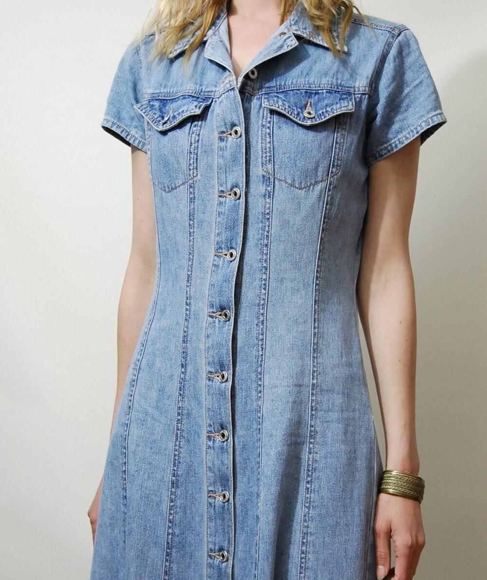 90s Vintage Denim Dress Maxi Long Button Down Vtg 1990s Pale