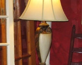 Amber and Cream Colored Oval Style Table  Lamp with Angular Shade -Vintage-Beautiful