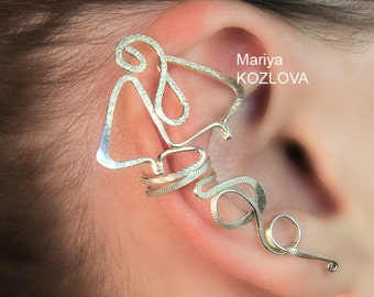 No Piercing Silver Dragon Cartilage Ear Cuff/piercing imitation/fake faux piercing/ohrklemme ohrclip/conch ear manschette/ear sweep climber