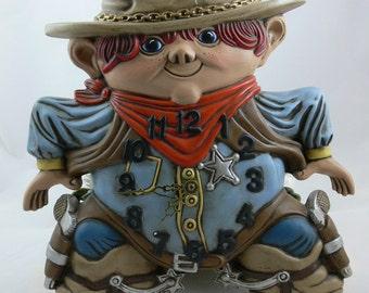 SALE - Clock - Cowboy Sheriff - 1975 - Arnel's Pottery -  MG-229