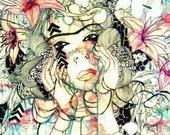 6x4 inch portrait illustration art print. Small portrait art print illustration. Flower girl portrait art print.