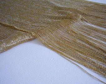 GOLD TONE VINTAGE Scarf /1980 s Gold Fringe  /Weave Scarf Shines Shimmers