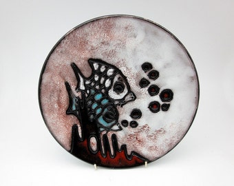 Ruscha wall plate from 'Weiss' series (West German Pottery)