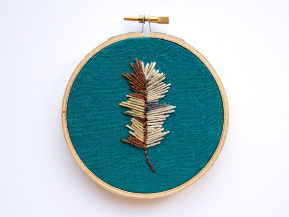 Autumn Decor - Feather Embroidery - Brown Natural Ombre - 4 Inch Hoop Art - Hand Stitched Boho Wall Art - Cottage Woodland Decor