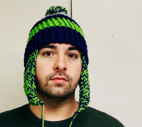 Seattle Seahawks color inspired hand knit hat