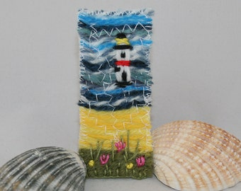 Embroidered and Felted Brooch - Lighthouse